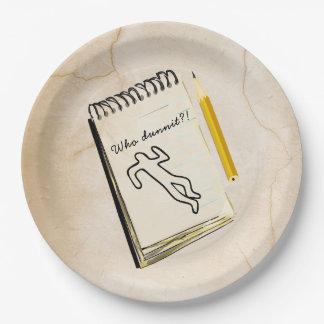 Prato De Papel Cena do crime das placas de papel do mistério de