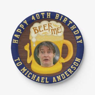 Prato De Papel Cerveja engraçada mim foto da festa de aniversário