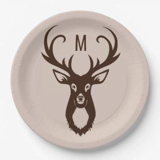 Prato De Papel Cervos com suas placas de papel do monograma