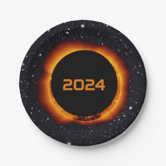 Prato De Papel Céu estrelado da data total do eclipse 2024 solar