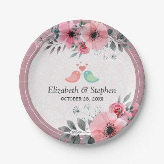 Prato De Papel Chá de casamento floral da aguarela bonita