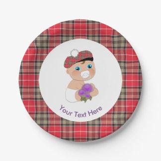 Prato De Papel Chá de fraldas bonito da flor escocesa do Tartan