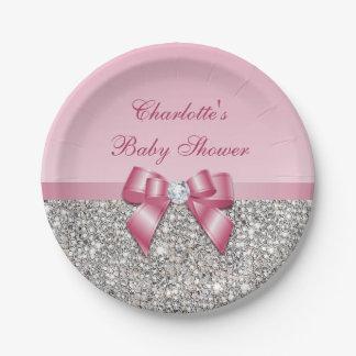 Prato De Papel Chá de fraldas cor-de-rosa elegante dos Sequins da