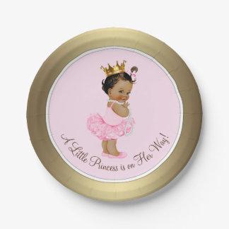 Prato De Papel Chá de fraldas étnico da princesa Cor-de-rosa Ouro