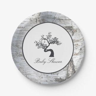 Prato De Papel Chá de fraldas rústico da árvore de vidoeiro de