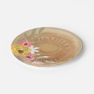 Prato De Papel Chá de panela floral da aguarela Woodsy rústica