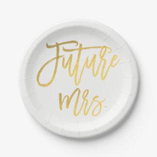 Prato De Papel Chá de panela moderno futuro da folha de ouro da
