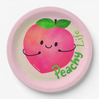Prato De Papel Chalaça positiva do pêssego - Peachy