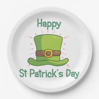 Prato De Papel Chapéu alto verde irlandês do dia de Patrick de