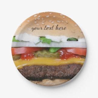 Prato De Papel cheeseburger delicioso com fotografia das