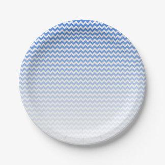 Prato De Papel Chevron azul