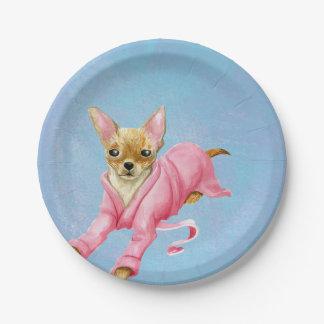 Prato De Papel Chihuahua em placas cor-de-rosa do partido do