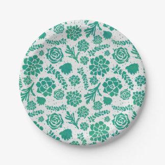 Prato De Papel Chique verde dos Succulents da aguarela botânico