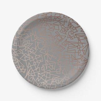 Prato De Papel Cinza geométrico do teste padrão do ouro