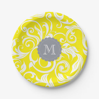 Prato De Papel Cinzas do amarelo do papel de parede floral do