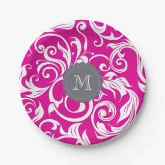 Prato De Papel Cinzas do rosa do papel de parede floral do
