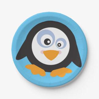 Prato De Papel Círculo do Natal das placas de papel dos pinguins