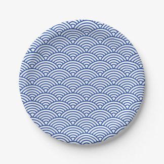 Prato De Papel Círculos azuis e brancos da placa de papel