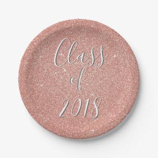 Prato De Papel Classe cor-de-rosa do brilho da faísca do ouro de