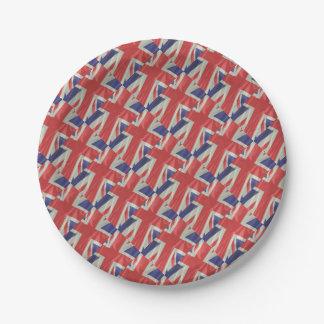 Prato De Papel Close up de seda da bandeira de Union Jack