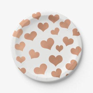 Prato De Papel Cobre cor-de-rosa metálico do branco dos confetes