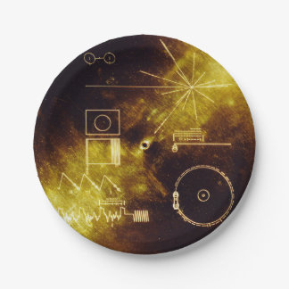 Prato De Papel Cobrir gravado dourado da nave espacial do
