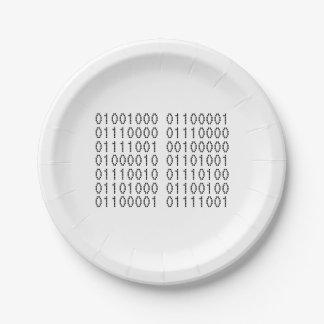 Prato De Papel Código binário do computador do feliz aniversario