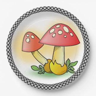 Prato De Papel Cogumelos de Muscaria do amanita de mosca