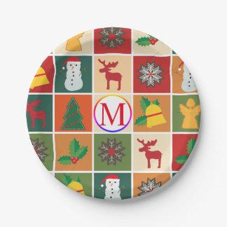 Prato De Papel Colagem do Natal com monograma