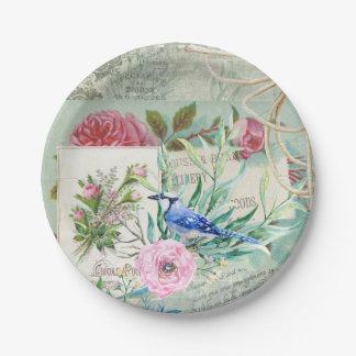 Prato De Papel Colagem floral do rosa do rosa do pássaro de Jay