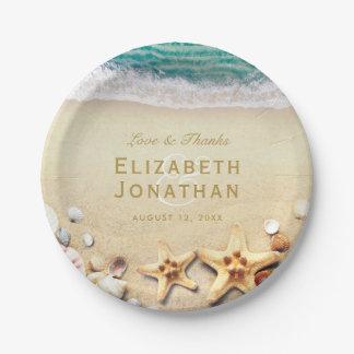 Prato De Papel Coleção tropical do casamento da estrela do mar da