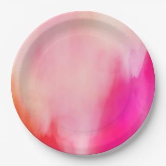 Prato De Papel Colorido alaranjado coral do rosa abstrato da