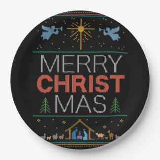 Prato De Papel Colorido religioso da camisola feia do Feliz Natal