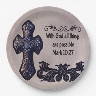 Prato De Papel Com deus todas as coisas são possíveis