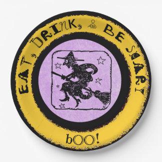 Prato De Papel Coma, bebida & seja assustador, a placa de papel