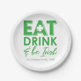Prato De Papel Coma, bebida & seja o dia de St Patrick moderno
