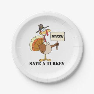 Prato De Papel Coma economias da carne de porco uma Turquia