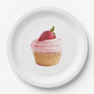 Prato De Papel Coma-me, beba-me cupcake no rosa