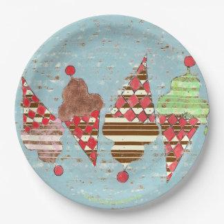 Prato De Papel Cones da listra do sorvete do teste padrão de