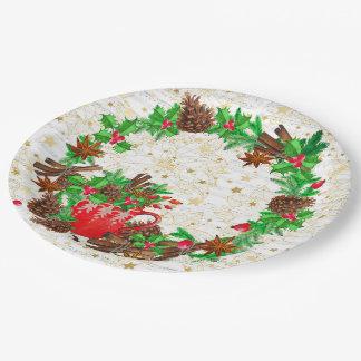 Prato De Papel Cones do pinho da grinalda do Natal
