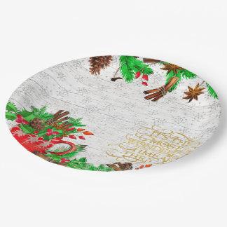 Prato De Papel Cones do pinho do Natal