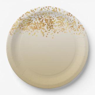 Prato De Papel Confetes chamativos Ombre do ouro