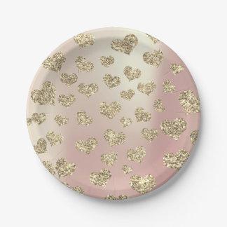 Prato De Papel Confetes mais foxier dos corações do ouro do rosa