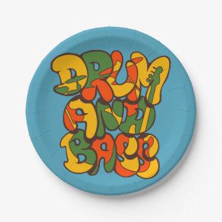 Prato De Papel cor da reggae do cilindro e do baixo - logotipo,