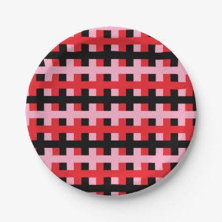 Prato De Papel Cor-de-rosa abstrato, vermelho e preto