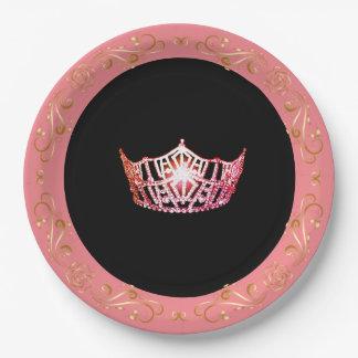 """Prato De Papel Cor-de-rosa-Coral 9"""" do estilo da senhorita"""