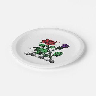 Prato De Papel Cor heráldica cor-de-rosa & do cardo da brasão da