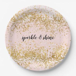 Prato De Papel Cora a faísca cor-de-rosa dos confetes do ouro