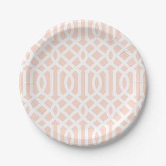 Prato De Papel Cora a treliça cor-de-rosa