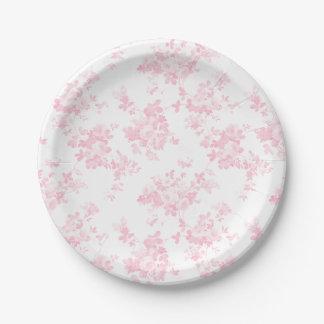 Prato De Papel Cora floral elegante dos rosas cor-de-rosa do